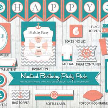 Nautical Themed Printable Party Pack,Coral and Teal, Gray, Chevron Anchor, Birthday Party Decorations, DIY Party
