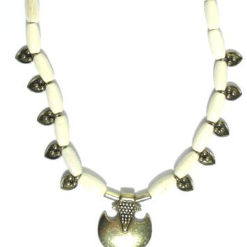 Beaded Crescent Necklace White Native Tribal NA06 Summer Surf Pendant
