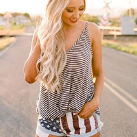 Gonna Be Alright Striped Tank Top (Navy/Oatmeal)