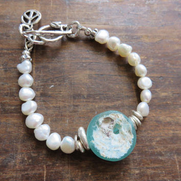 Ancient Roman Glass and Freshwater Pearls Sterling Silver Bracelet - PEACE Sign Charm