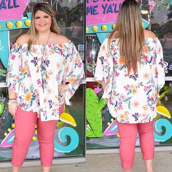 Off white Flower top (PLUS SIZE)