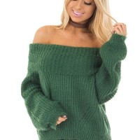 Hunter Green Off the Shoulder Sweater