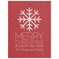 Modern Merry Christmas Winter Snowflake - red Fleece Blanket