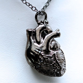 Tiny Anatomical Heart Pendant  jet black gunmetal