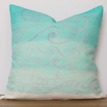 "Blue Pillow Cover- 16""x16"" Aqua Blue Decorative Throw Pillow Cover, Aqua and Turquoise Dip Dye with ""Float On"""