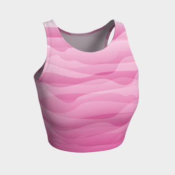 Pink Ombre Waves Abstract Design Athletic Crop Top