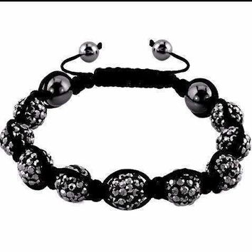 Charcoal Sparkly Crystals Hand Made Shamballa Bead Bracelet