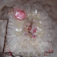 Shabby Chic small Photo Album, a special gift in pink toile and laces