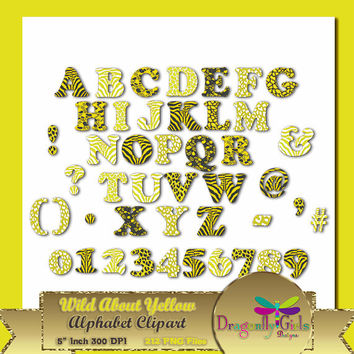 80% OFF Sale WILD About Sunny Yellow Alphabet Digital Scrapbooking, Instant Download, Printable, Commercial use, Patterns