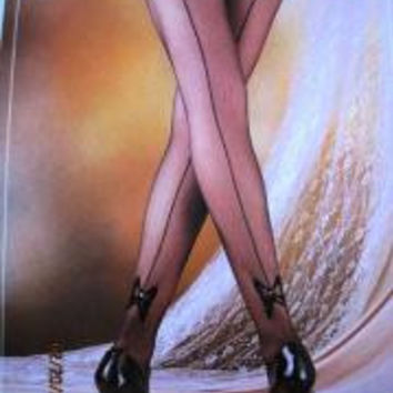 Flocking Pantyhose / Queen / Back Design w bow at the bottom, Color: Off Black, Case Pack 120