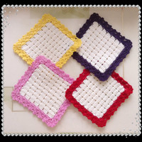 Set of 4 Coasters, Crochet Square Coasters, 100% Wool Coasters, Handmade Crochet Coasters, White Square Coasters