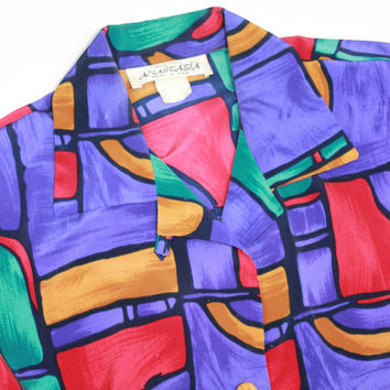 vtg 80s button down PULLOVER abstract print colorful blouse long sleeve SMALL sm s