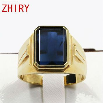 ZHHIRY Men's 18K Yellow Gold Natural Sapphire Ring
