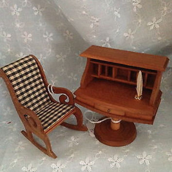 Doll House Vintage Quality Shackman  NYC Japan 1950-60 2 Pc. Wood Desk Chair Set