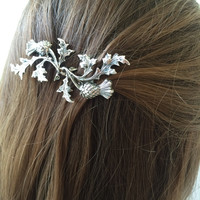 Silver Entwined Thistle Hair Pin