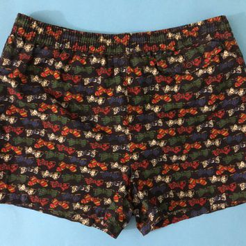 Vintage Italian Designer Men's Swimwear / Black with Multicolored Bow Tie Print Swim Trunks / Novelty Pattern Retro Shorts / Elastic Waist