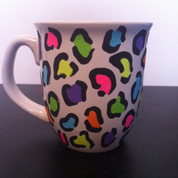 multicolor leopard print coffee cup