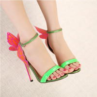 Summer Fashion Multicolor Bow Buckle Band Exposed Toe Sandals Women Heels Shoes