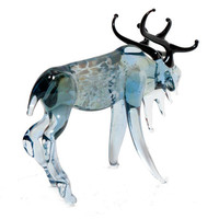 Hand-Blown Glass Reindeer Collectible  Figurine