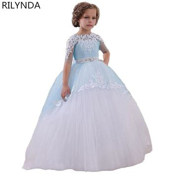 Fancy dresses for girls Robe Communion Blue Ball Gown Crew Neck Ankle Length Bow Sash Patchwork Long First Communion Dresses