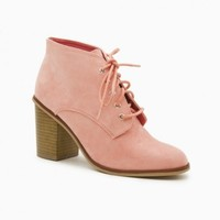 LEWIS LACE UP BOOTIES IN SALMON