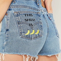 Urban Renewal Vintage Customised Banana Embroidered Perfect Raw Edge Shorts - Urban Outfitters
