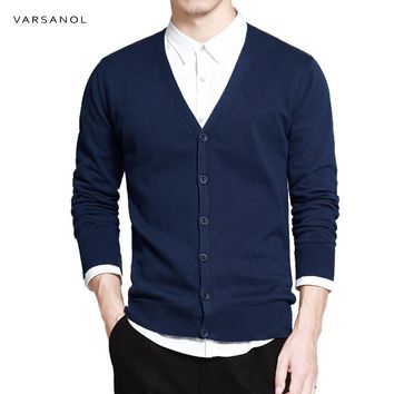Men Long Sleeve Cardigan V-Neck Sweaters Loose Solid Button Fit Knitting Casual Style Clothing