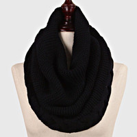 Cable Knitted Braided Infinity Winter Scarf Black