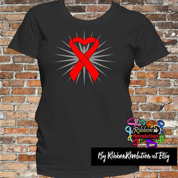 Heart Ribbon Shirts Blood Cancer, Heart Disease, AIDS, Vasculitis and Stroke Awareness