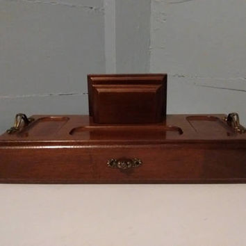 Jewelry Box and Dresser Valet Combo, Wood, Vintage