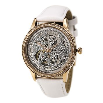 Kenneth Cole KC2885 Women's Automatic Crystal Accented Skeleton Dial White Leather Strap Watch