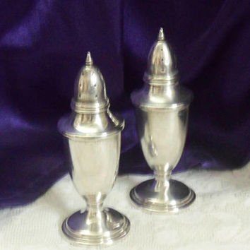 Sterling Salt & Pepper Shakers, Mueck-Carey Co 849, 66 Grams of Solid 92.5 Silver, Elegant 1940s, 50s Table Accessory