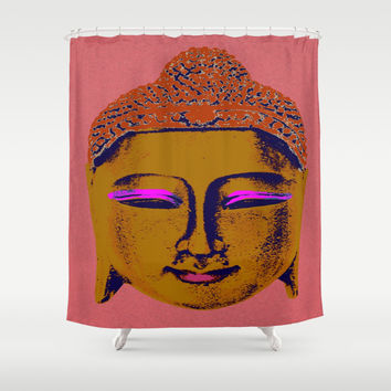 Brown Buddha Shower Curtain by Aloke Design