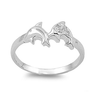 925 Sterling Silver CZ Dolphins Ring 7MM