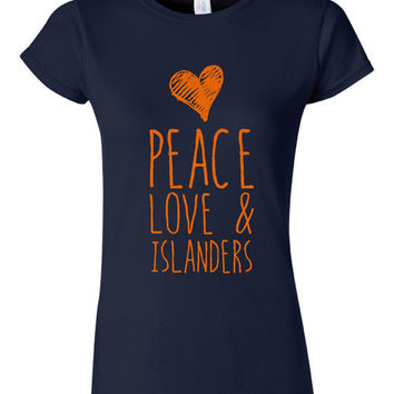 Peace Love and Islanders T Shirt Womens Unisex Style Islander Fan T Shirt Gift Ideas Great Playoff Hockey T Shirt