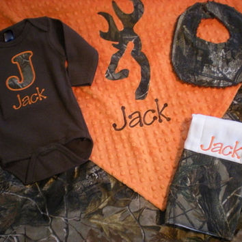 Best personalized baby blankets for boys products on wanelo baby boy gift set realtree camo personalized blanket onesuit burp cloth and negle Gallery