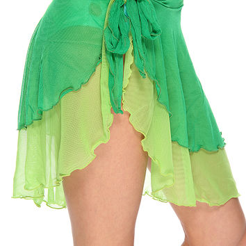 Green Two Tone Skirt Swimsuit Cover Up