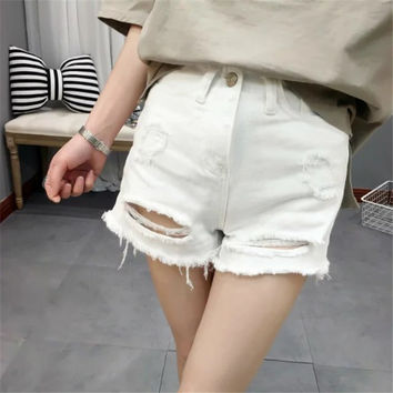 Korean Summer Women's Fashion White With Pocket Ripped Holes Denim Shorts [6034226113]