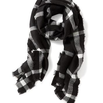 Old Navy Brushed Flannel Scarf Size One Size - Black Plaid