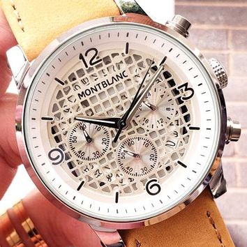 Montblanc 2019 new men's three-eye waterproof quartz watch #1