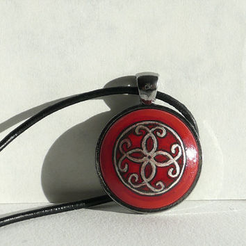 Original Art Red Pendant Necklace, Orient Style, Pendant Hand Painted Pendant Black Leather Cord Necklace, Bezel Anthracite Metallic Artdora