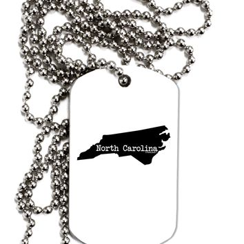North Carolina - United States Shape Adult Dog Tag Chain Necklace by TooLoud