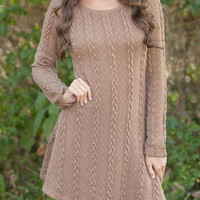 Brown Cable Knit A-line Dress