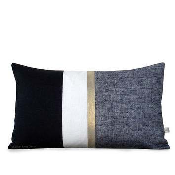 Metallic Gold Stripe Pillow Cover in Black and Cream - Modern Home Decor by JillianReneDecor - Chambray - Black and White - Holiday Pillow