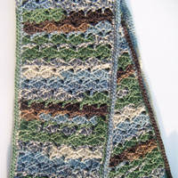 Summer Night Scarf Crochet Handmade in Multicolor- Green, Blue, Black, White, Brown- READY TO SHIP