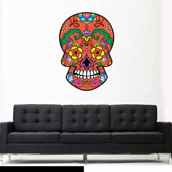 Full Color Wall Decal Mural Sticker Decor Art Beautyfull Cute Sugar Skull Bedroom Curly modern fashion (col599)