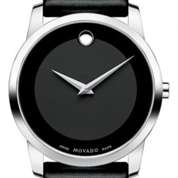 Movado Museum Classic Stainless Steel Case Men's Black Calf Skin Strap 40mm Watch 0606502