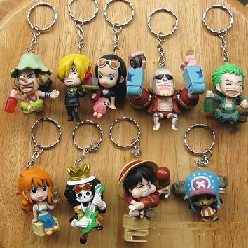 High Quality PVC 9pcs Anime Games One Piece Figure Keychain Assembly Leisure Life Pirates Group Full Set Model Toy