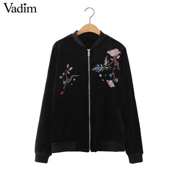 women vintage flower embroidery velvet bomber jacket coat zipper pockets coats ladies casual outwear black tops CT1443