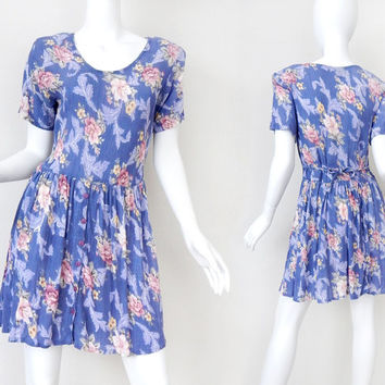 Vintage 90s Floral Babydoll Dress - Size Medium - Blue Rose Print Crinkle Gauze Tie Back Women's Dress